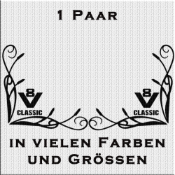 Fensterdekor mit V8 Classic Aufkleber Paar.Jetzt bestellen!✅
