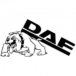 2 Aufkleber DAF-Schriftzug mit der Bulldogge. Jetzt bestellen!