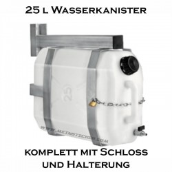 Wasserkanister 25 lt mit Halterung und Schloss bei meinsticker.com - jetzt bestellen! ✅