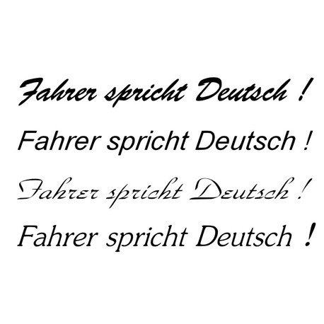 Fahrer spricht Deutsch - Aufkleber Paar.  Jetzt bestellen! ✅