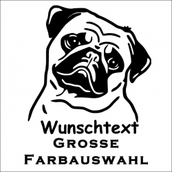 Hundeaufkleber Mops jetzt bestellen!✅