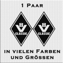 Raute Aufkleber mit V8 Classic Paar