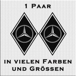 Raute Aufkleber Paar mit Mercedes - Stern