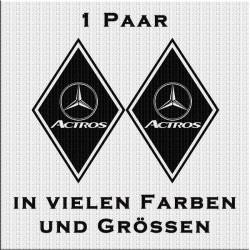 Raute Aufkleber Paar mit Mercedes - Stern - Actros