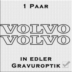 Sandstrahloptik Aufkleber Paar Volvo Schriftzug. Jetzt bestellen!✅