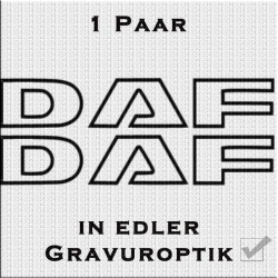 Sandstrahloptik Aufkleber Paar DAF Schriftzug. Jetzt bestellen!✅