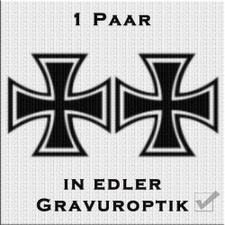 Sandstrahloptik Aufkleber Paar Eiserne Kreuz. Jetzt bestellen!✅