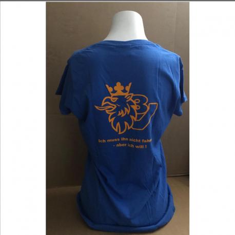 Damenshirt blau mit Scania V8 Greif. Jetzt bestellen!✅