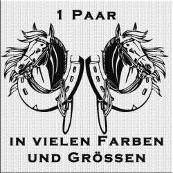 Pferd mit Hufeisen Aufkleber Paar Variante 4. Jetzt bestellen!✅