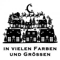 Weihnachtsaufkleber Haus Schlitten Variante 1. Jetzt bestellen!✅