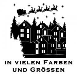 Weihnachtsaufkleber Haus Schlitten Variante 2. Jetzt bestellen!✅