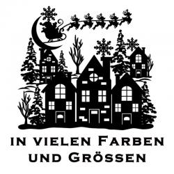 Weihnachtsaufkleber Haus Schlitten Variante 3. Jetzt bestellen!✅