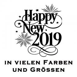 Aufkleber Happy New 2019. Jetzt bestellen!✅