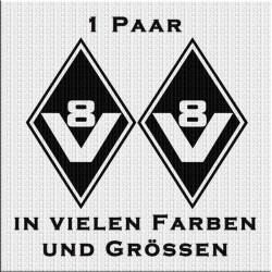 Raute Aufkleber mit V8 Classic Paar Variante 2. Jetzt bestellen!✅