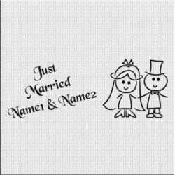Just Married Aufkleber Variante 2. Jetzt bestellen!✅