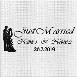 Just Married Aufkleber Variante 5. Jetzt bestellen!✅