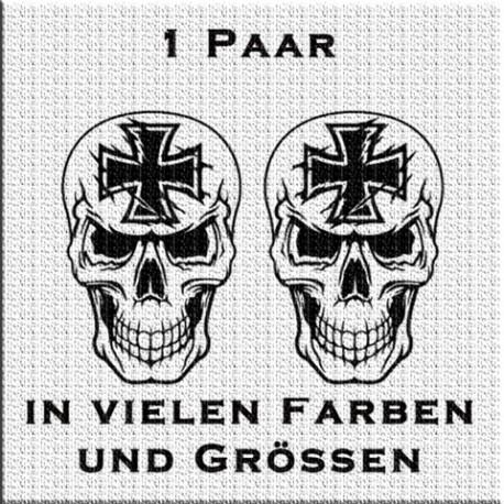 Totenkopf mit Eisernem Kreuz Aufkleber Paar. Jetzt bestellen! ✅