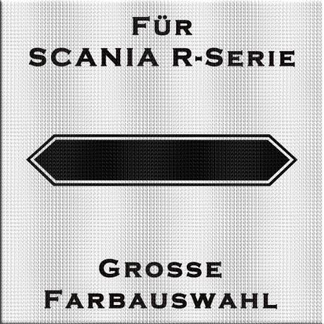 Hintergrund für Scania Schriftzug am Frontgrill. Jetzt bestellen! ✅