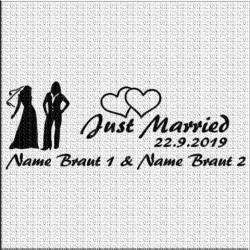 Hochzeitsaufkleber Just Married Frau & Frau. Jetzt bestellen! ✅