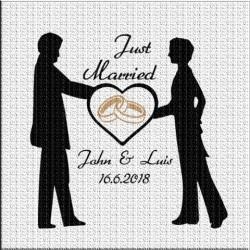 Hochzeitsaufkleber Mann Just married. Jetzt bestellen! ✅