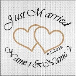 Hochzeitsaufkleber Just married Variante 7. Jetzt bestellen!✅