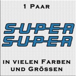 Super Schriftzug 2 Farbig Aufkleber 1 Paar. Jetzt bestellen!✅
