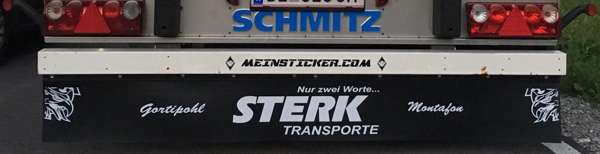 Beschrifteter Schmutzfänger/Heckschürze der Firma Sterk Transporte aus Gortipohl/Montafon