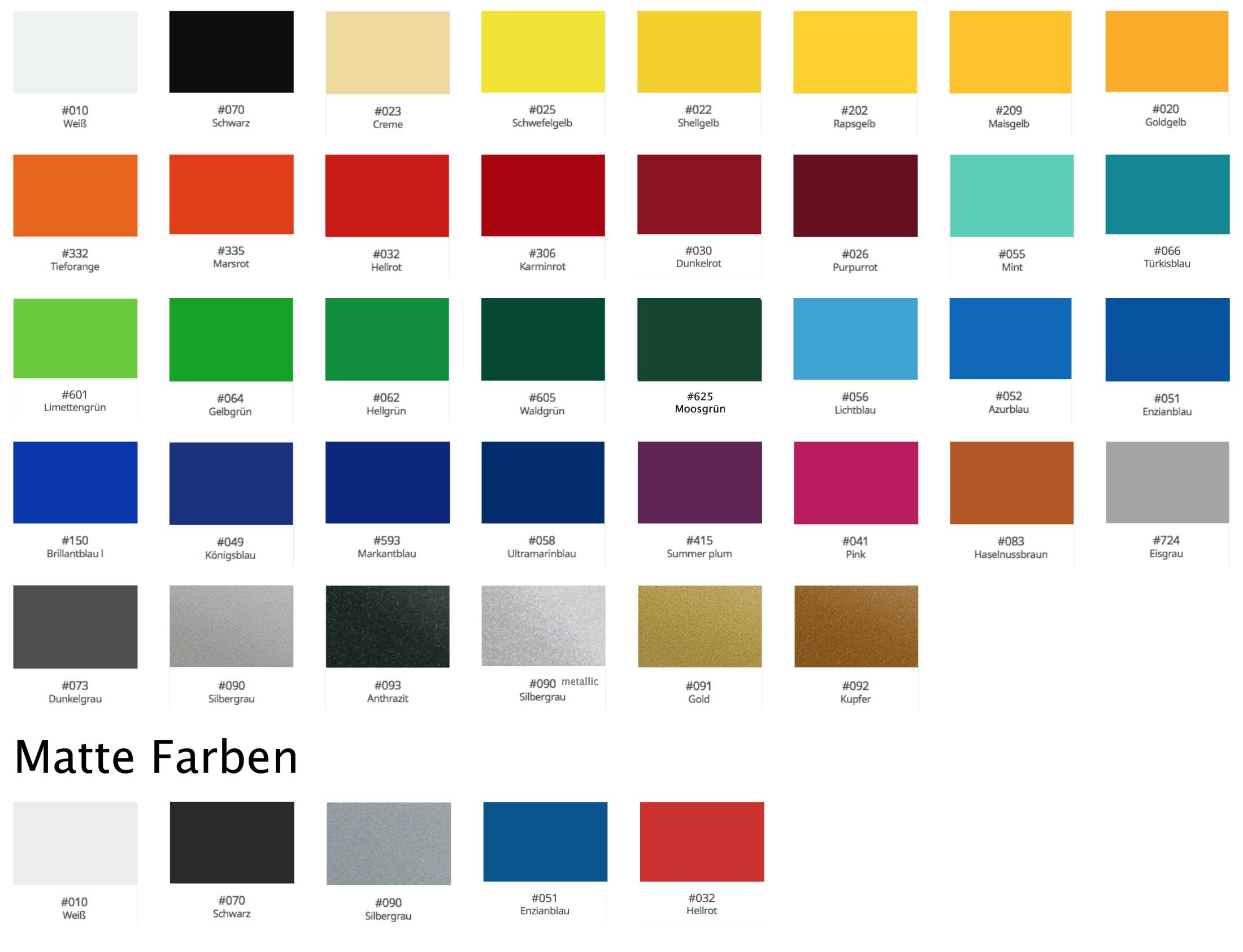 Hier kannst du die aktuell ständig vorrätigen Folienfarben sehen, welche im Onlineshop von meinsticker.com immer bestellbar sind. Wunschfarbe nicht dabei? Sende uns einfach eine kurze Nachricht - wir liefern deinen Aufkleber in jeder Farbe, versprochen!
